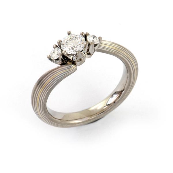 Verlobungsring Mokume Gane Silber Gelbgold Palladium Brillanten (1007644)