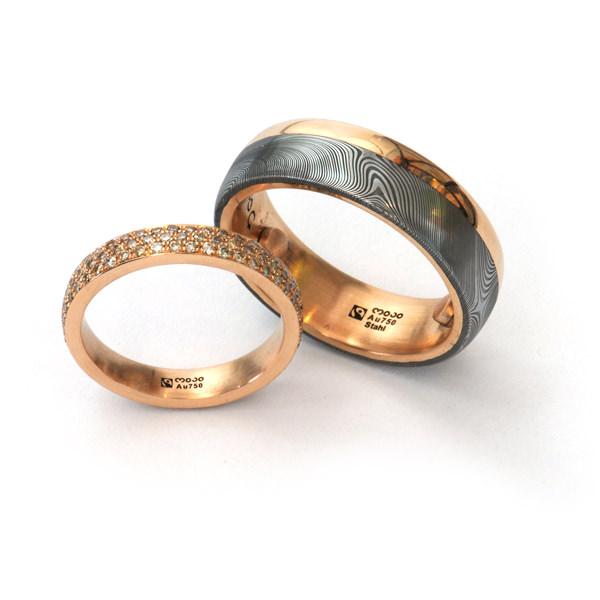 Eheringe Fairtrade Rotgold Damaszenerstahl Diamanten Brillanten (1007968)