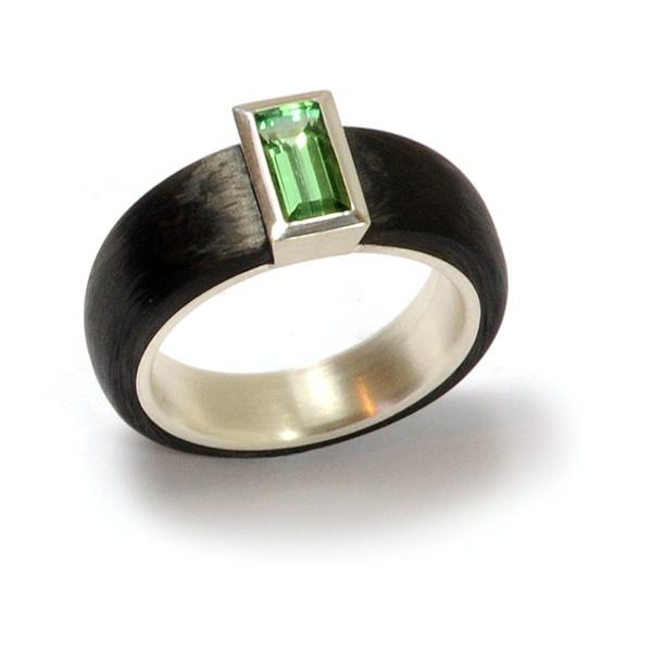 Verlobungsring Silber Carbon Turmalin (250134)