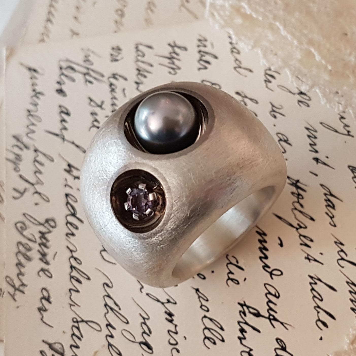 Damenring Silber Palladium Tahitiperle (250203)